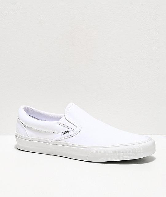 181ad19ddc Vans Slip-On Monochromatic True White Skate Shoes | Zumiez