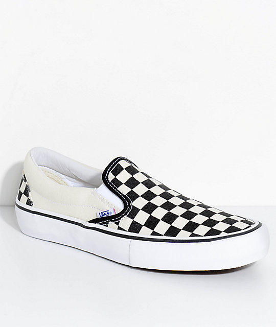7b8b383a790 Vans Slip-On Pro Black   White Checkered Skate Shoes