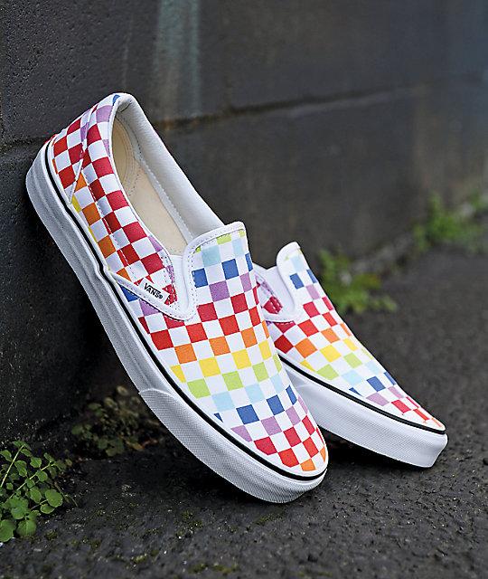 Vans Slip On Rainbow Checkerboard Skate Shoes