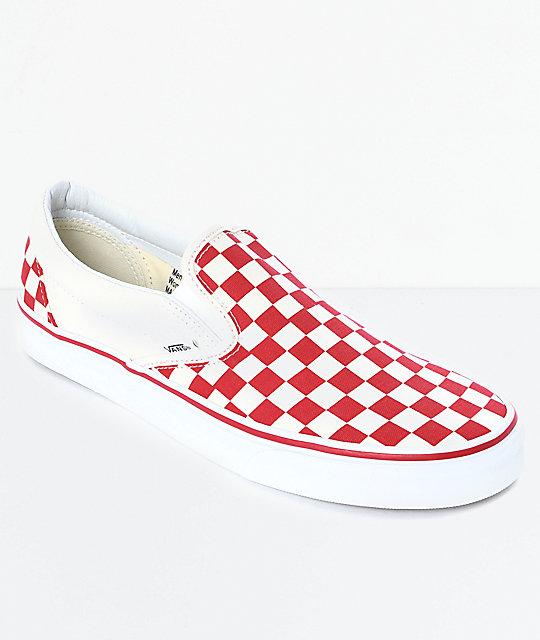 Vans Slip-On Red   White Checkered Skate Shoes  15d6068b0