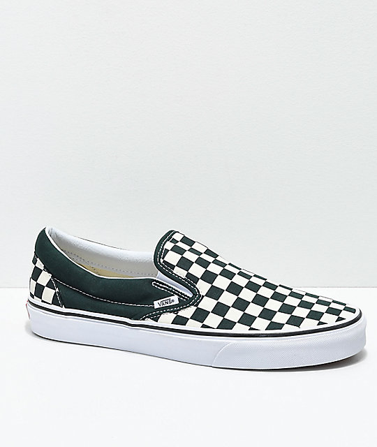 Vans Slip-On Scarab Green   White Checkered Skate Shoes  2e3f0930f