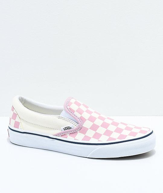 vans slip on chex skate shoe pink off