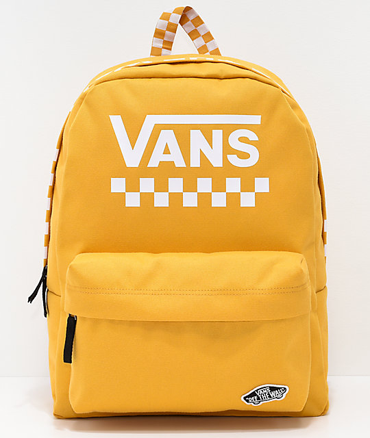 066b2cf08ef Vans Sporty Realm Yellow Checkerboard Backpack | Zumiez