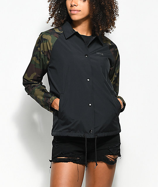 29709a480d6e8f Vans Thanks Black   Camo Coaches Jacket