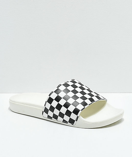 d1eccf7e7c Vans White   Black Checkerboard Slide Sandals