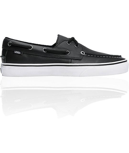 Vans Del Leather Black Zapato Barco Skate ShoesZumiez Boat H2IYE9WDe