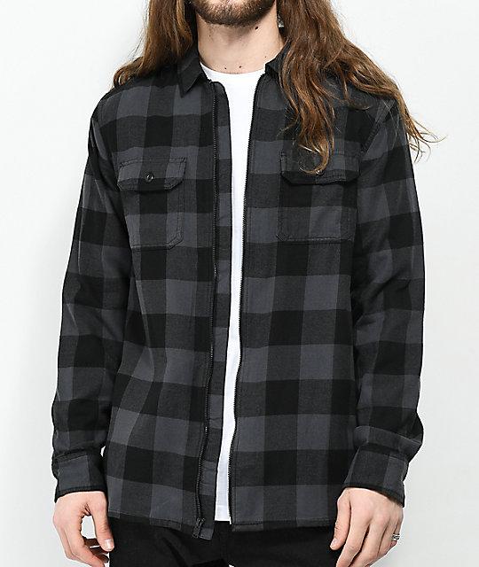 e3ed221290 Vans x Independent Black   Charcoal Full Zip Flannel Shirt