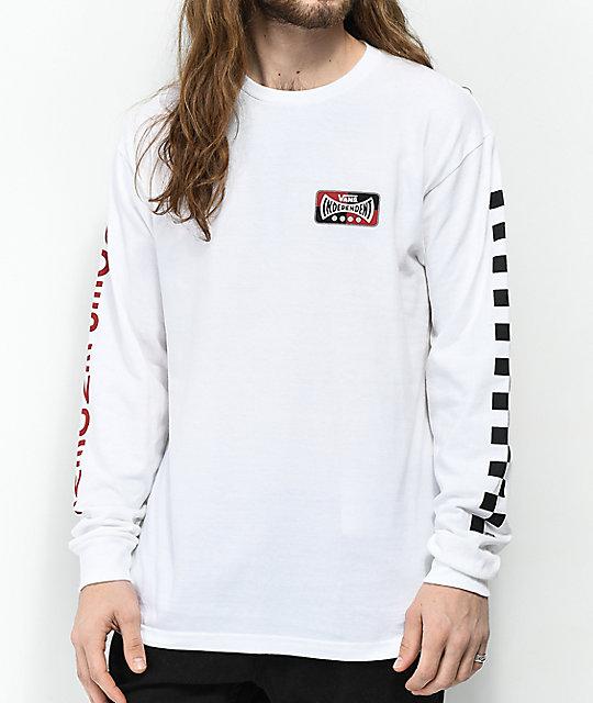 8e39b70aa Vans x Independent Check White Long Sleeve T-Shirt | Zumiez