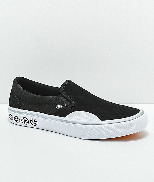 6ac550972da450 Vans x Independent Slip-On Pro Black   White Skate Shoes