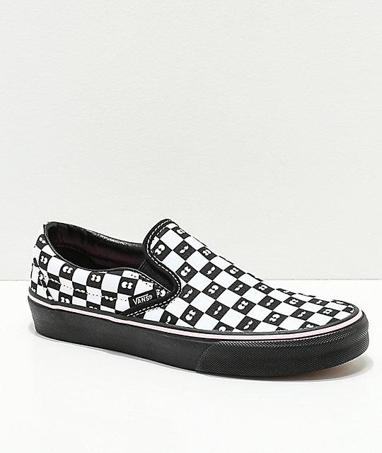 Vans X Lazy Oaf Checkerboard Eyeballs Slip On 5.5