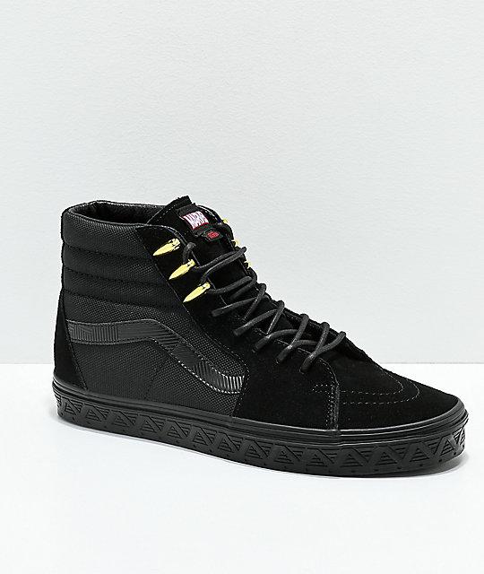 separation shoes 7c444 db407 Vans x Marvel Sk8-Hi Black Panther Black   Gold Skate Shoes ...