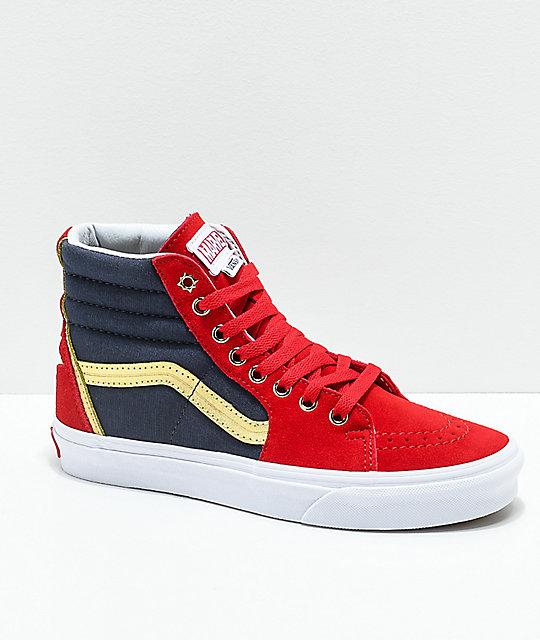Vans x Marvel Sk8 Hi Captain Marvel Red, Blue & White Skate