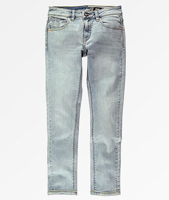 7fed7af53c Volcom Boys Solver Allover Stone Light Blue Tapered Jeans   Zumiez