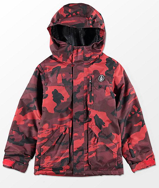 51d5ef427c83c Volcom Boys VS Red Camo Insulated 10K Snowboard Jacket | Zumiez