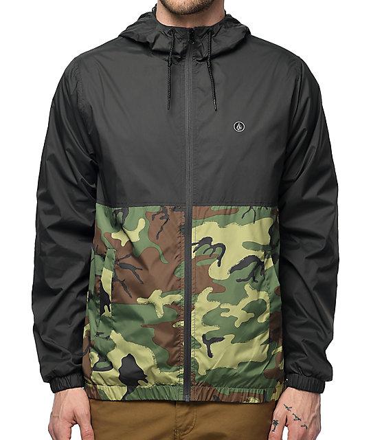 d13766783620e Volcom Ermont Charcoal & Woodland Camo Windbreaker Jacket   Zumiez