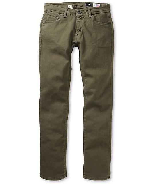 024e71f6 Volcom Vorta S Gene Stretch Military Olive Green Slim Fit Jeans | Zumiez