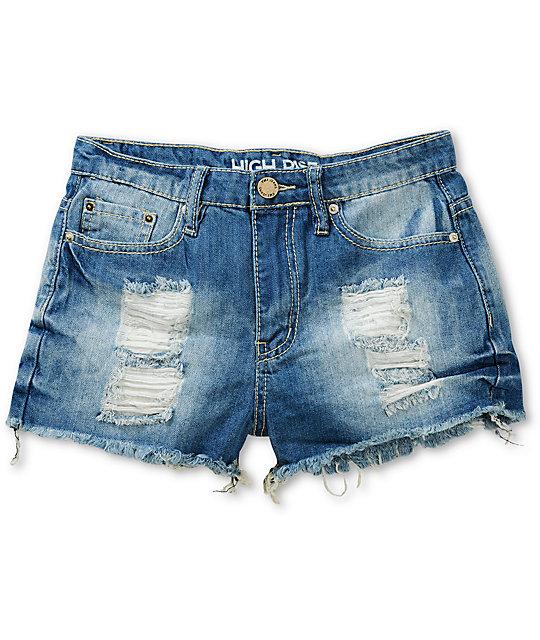 710edd59b YMI Lori High Waisted Cut-Off Denim Shorts | Zumiez
