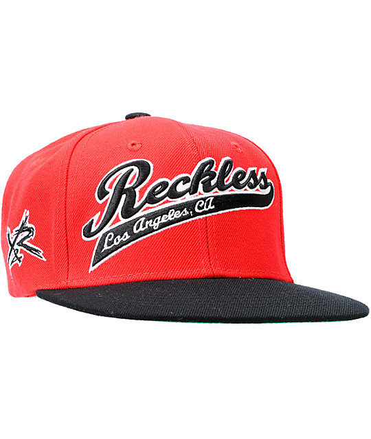 size 40 e5b6c 5dafe Young   Reckless Script Red   Black Snapback Hat   Zumiez