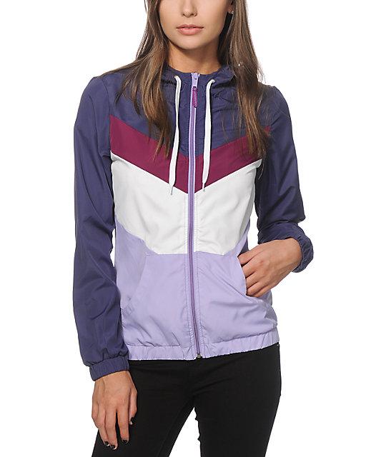 6b2755011 Zine Delmar Purple & Navy Colorblock Windbreaker Jacket | Zumiez