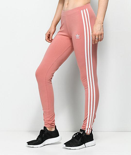 fc60097df5b1b7 adidas 3 Stripe Ash Pink Leggings   Zumiez
