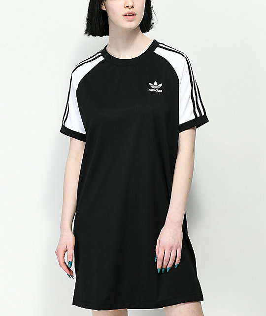 5e39123b3a6e adidas 3 Stripe Black & White Raglan Dress | Zumiez