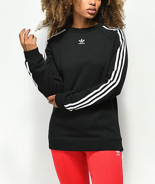 814541ce adidas 3 Stripe Black Crew Neck Sweatshirt | Zumiez