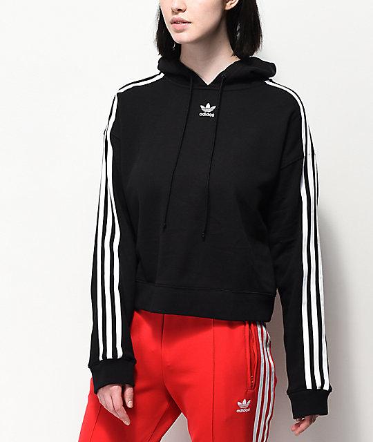 0598ac01 adidas 3 Stripe Black Cropped Hoodie   Zumiez