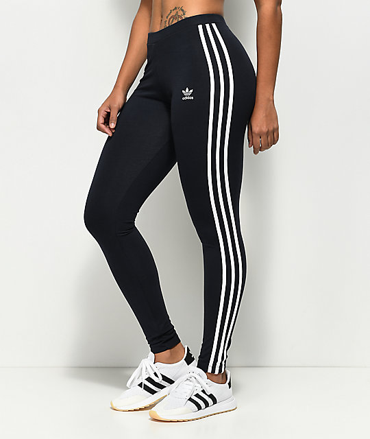 e893aa065 adidas 3 Stripe Dark Blue Leggings | Zumiez
