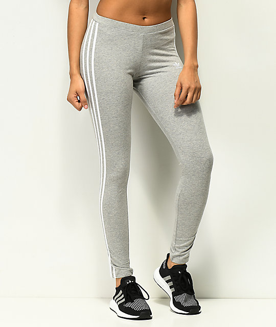 95b9408071b508 adidas 3 Stripe Grey Leggings | Zumiez