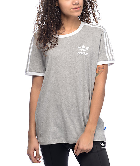 4272dbf28a61 adidas 3 Stripe Heather Grey T-Shirt | Zumiez