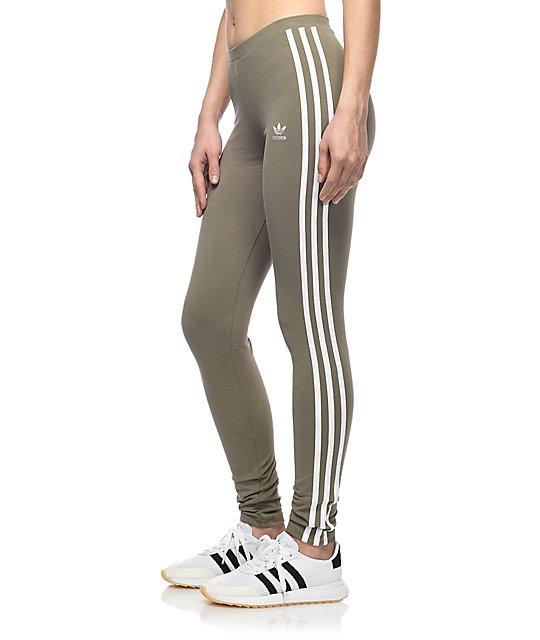 b440ff3dd38a57 adidas 3 Stripe Olive Leggings | Zumiez