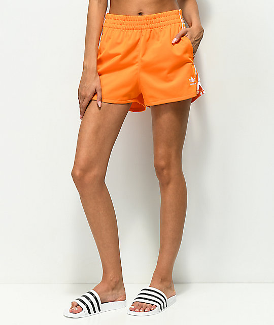 1b3fd53883 adidas 3 Stripe Orange Shorts | Zumiez
