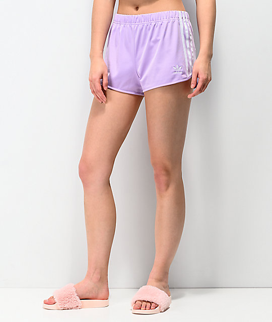 c5a15c4c4b44 adidas 3 Stripe Purple Glow Shorts | Zumiez