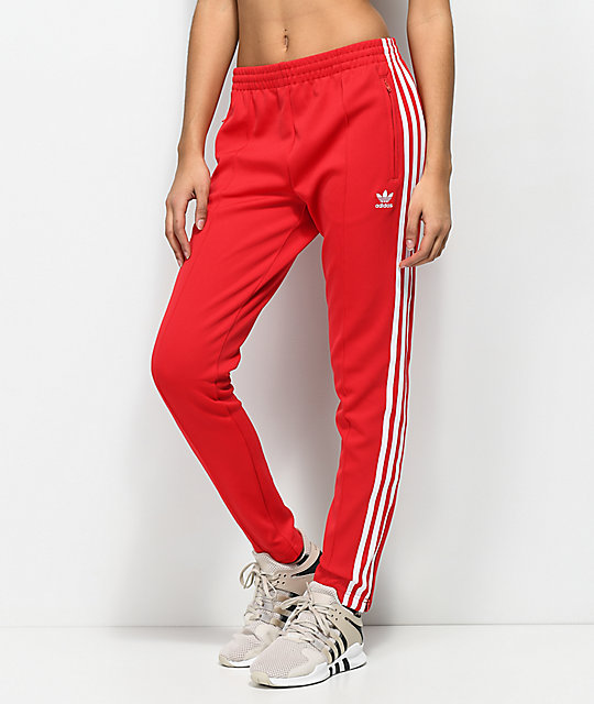 f4685395c87 adidas 3 Stripe Red Track Pants | Zumiez