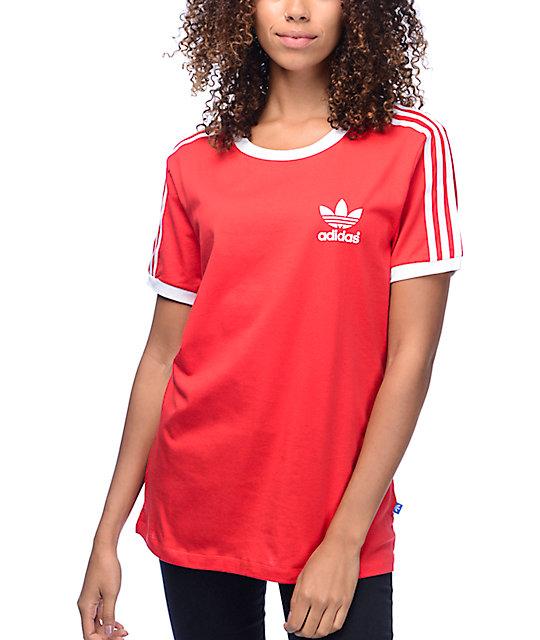 875d74c9e0a2 adidas 3 Stripe Red Womens T-Shirt   Zumiez