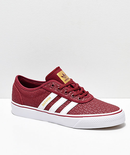 8fa7a2b4a4 adidas Adi-Ease Daewon Burgundy, White & Gold Skate Shoes | Zumiez