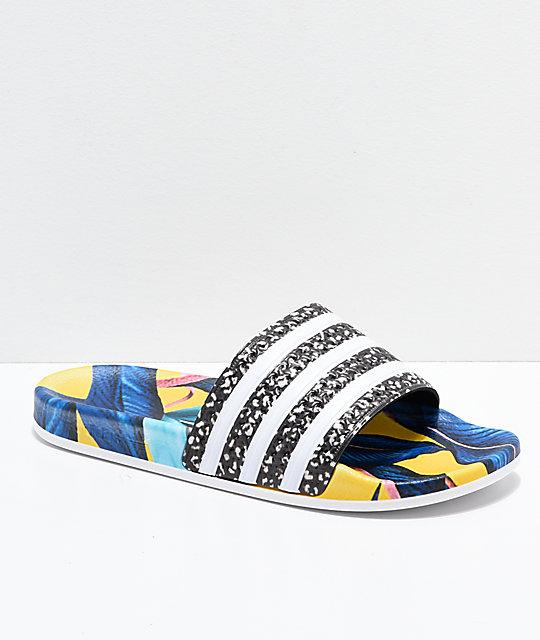 Hojas Con Adidas Adilette De Sandalias Estampado 5AL4Rj