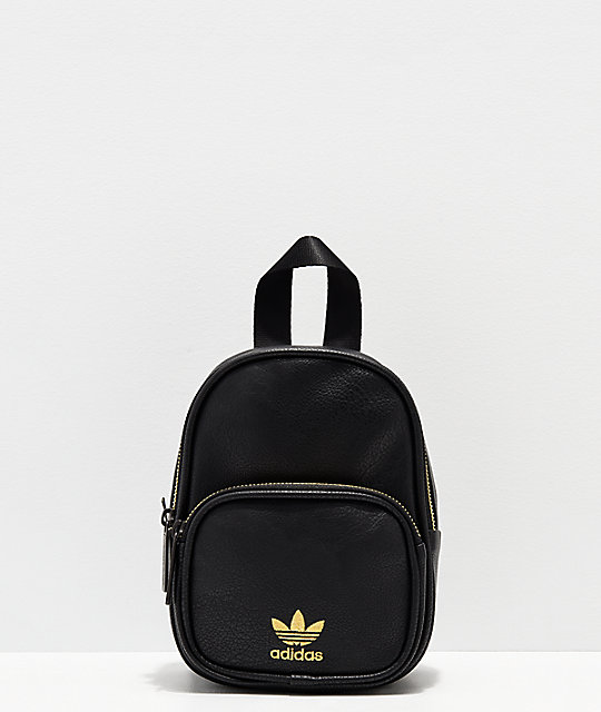 a82a9577f19f adidas Black & Gold Faux Leather Mini Backpack | Zumiez