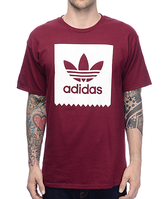 c1bb36f42 adidas Blackbird Burgundy T-Shirt   Zumiez