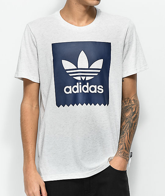 7f75f33c398926 adidas Blackbird Solid Heather Grey & Blue T-Shirt | Zumiez
