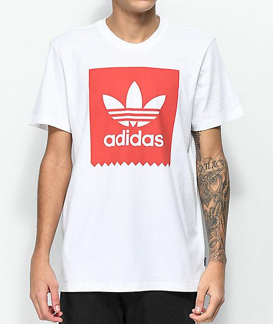 6babcad71684 adidas Blackbird Solid White & Red T-Shirt   Zumiez