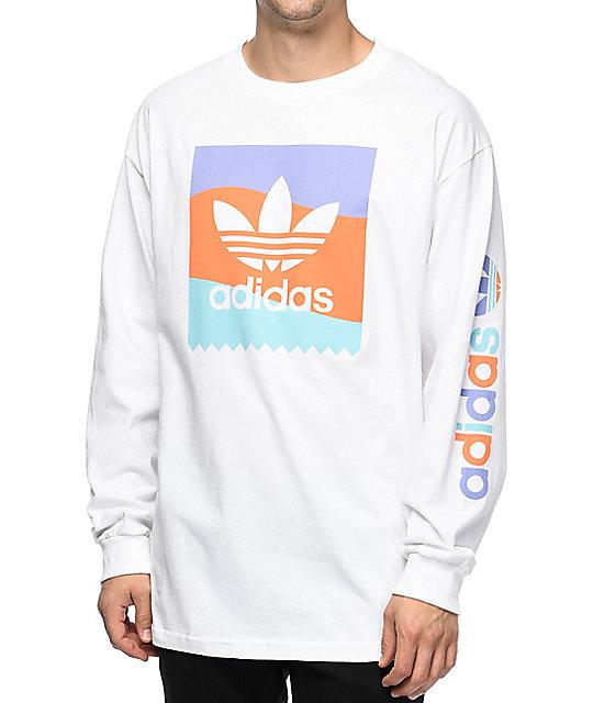 26890992 adidas Blackbird White Long Sleeve T-Shirt | Zumiez