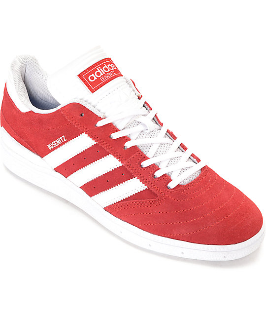 sélection premium d4848 a9d20 adidas Busenitz Red & White Suede Shoes