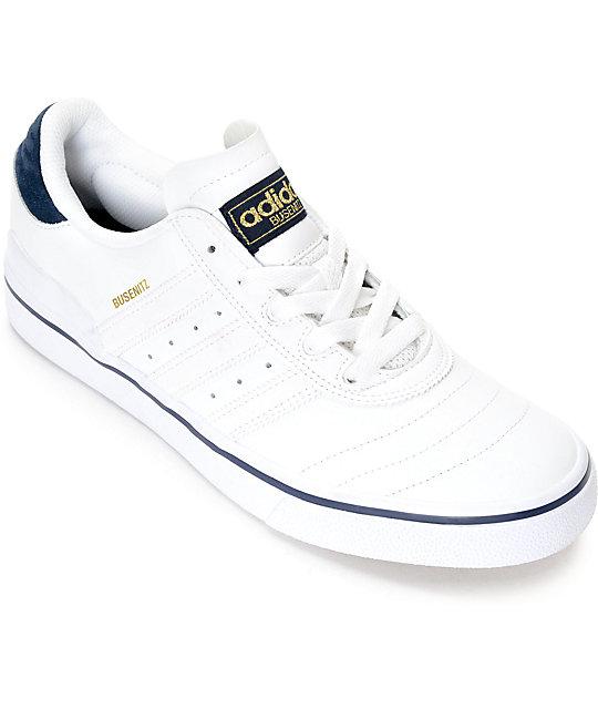 58e92156c39 adidas Busenitz Vulc White & Navy Leather Shoes | Zumiez