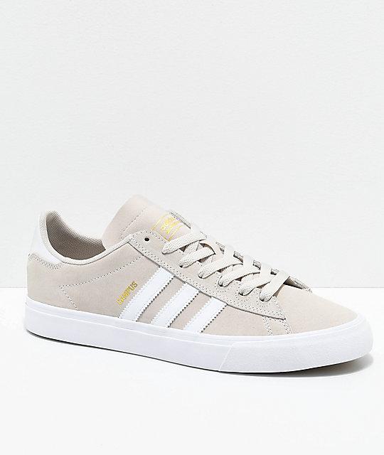 4b53996383b38 adidas Campus Vulc II Cream & White Shoes   Zumiez