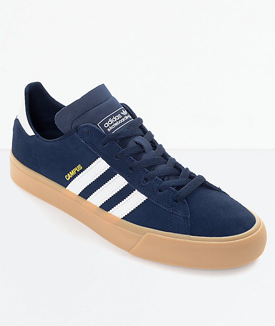 regarder 7a550 2491b adidas Campus Vulc II Navy & White Gum Shoes