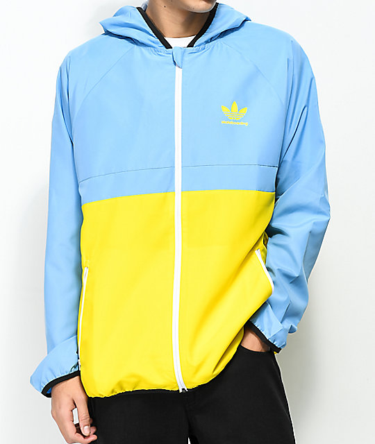 size 40 5824a f5190 adidas MI Skate Blue   Yellow Windbreaker Jacket   Zumiez