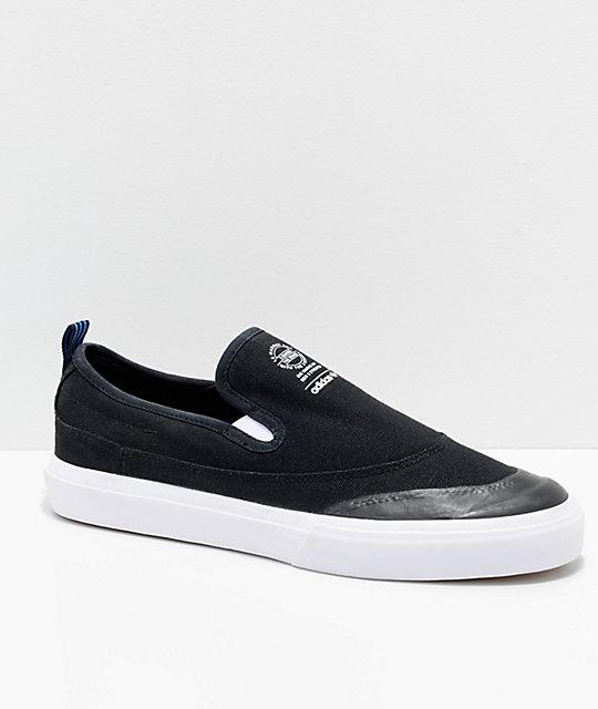 6c59ad0eff27 adidas Matchcourt Black, White & Blue Slip On Shoes   Zumiez