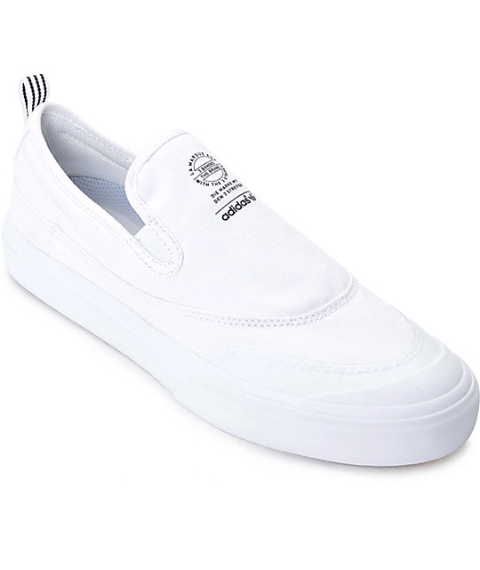 huge sale 5d6c3 6a685 adidas Matchcourt White Slip On Shoes