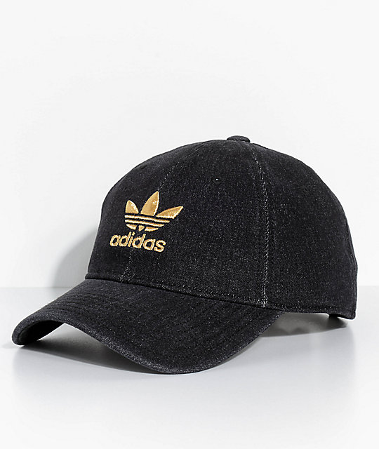 c56e8de5392428 adidas Men's Trefoil Black Denim Strapback Hat   Zumiez